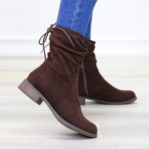 Brown Round Toe Suede Ankle Booties With Lace Back